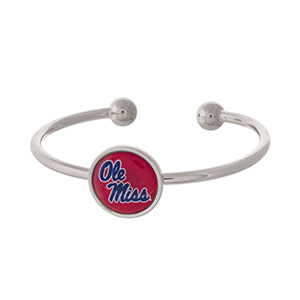 Officially licensed, silver tone cuff bracelet with the Ole Miss logo.