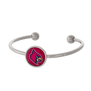 Officially licensed, silver tone cuff bracelet with the University of Louisville logo.