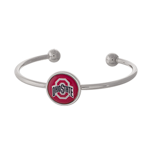 Officially licensed, silver tone cuff bracelet with the Ohio State logo.