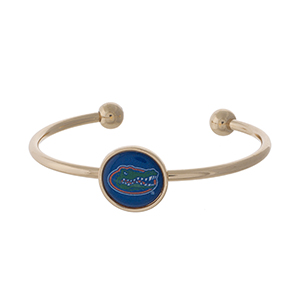 Officially licensed, gold tone cuff bracelet with the University of Florida logo.