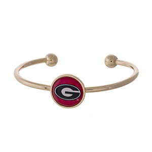 Officially licensed, gold tone cuff bracelet with the University of Georgia logo.