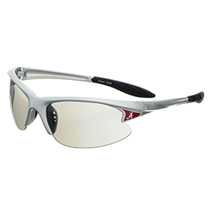 Silver tone plastic frame sports elite style sunglasses with Alabama logos on the corners.