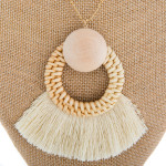 Wholesale long metal necklace wood tassel details Approximate