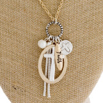 Wholesale long gold chain necklace cross pendant pearl tassel accent