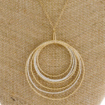 Wholesale long gold chain necklace circular pendant silver accents