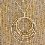 Wholesale long silver chain necklace circular pendant gold accents