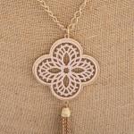 Wholesale long necklace nude filigree pattern pendant tassel detail Pendant over