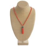 Wholesale long beaded necklace beaded tassel pendant faceted bead details Pendan