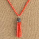 Wholesale long beaded necklace beaded tassel pendant faceted bead details Pendan
