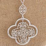 Wholesale long silver chain necklace filagree pendant