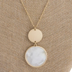 Wholesale long metal necklace mother pearl inspired pendant gold accent Pendant