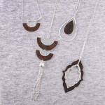 Wholesale long link bar chain necklace double half moon cork inspired pendant me