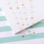 Wholesale dainty oval link chain necklace iridescent bead details gold star acce