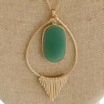 Wholesale long metal chain necklace teardrop pendant natural stone center detail