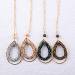 Wholesale long link bar chain necklace double teardrop pendant rhinestone detail