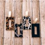 Wholesale fur faux leather leopard print metal square encased pendant Pendant ov