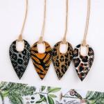 Wholesale cowhide leopard print hinge cut out pendant necklace Pendant overall