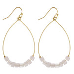 Wholesale metal teardrop earrings rose quartz natural stone beaded details