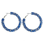 Wholesale large hoop earrings blue silver rhinestones diameter