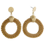 Wholesale rattan braided drop earrings gold accents