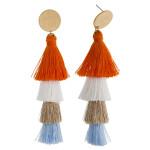 Wholesale long drop earrings fanned tassel details stud post