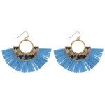 Wholesale metal drop earrings wood inspired pattern accent tassel details