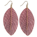 Wholesale faux leather feather inspired earrings snakeskin details gold bar acce