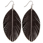 Wholesale faux leather feather inspired earrings snakeskin details silver bar ac
