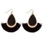 Wholesale long teardrop earrings rattan woven center gold metal accents tassel d