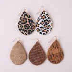 Wholesale faux leather teardrop earrings leopard print