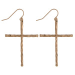 Wholesale gold cross earrings wavy textured