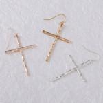 Wholesale rose gold cross earrings wavy textured