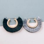 Wholesale gold metal hoop earrings black tassel detailing diameter