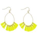Wholesale dainty teardrop earrings neon tassel details gold accents