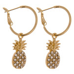 Wholesale dainty hoop earrings pineapple accent cubic zirconia details