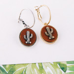 Wholesale dainty hoop earrings faux leather accent cactus detail