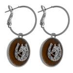 Wholesale dainty hoop earrings faux leather accent horseshoe details