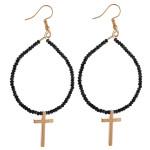 Wholesale metal drop earrings flexible wiring iridescent beaded details cross ac