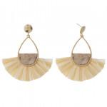 Wholesale teardrop earrings cork inspired details raffia tassel accents