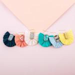 Wholesale drop earrings raffia tassel details wood inspired pattern accent
