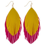 Wholesale large double faux leather feather inspired drop earrings