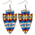 Wholesale wood inspired arrowhead earrings western print pattern details