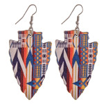 Wholesale wood inspired arrowhead earrings western print pattern details
