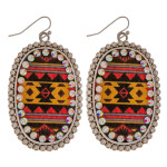 Wholesale metal drop earrings faux leather western print center detail rhineston