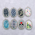 Wholesale metal drop earrings God my Father faux leather center detail rhineston