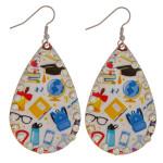 Wholesale metal school print drop earrings rhinestone accents