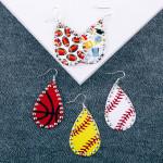 Wholesale metal baseball drop earrings rhinestone accents