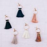Wholesale fan tassel bar stud open circle dangle earrings