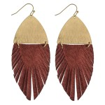 Wholesale faux fur feather linked drop earrings