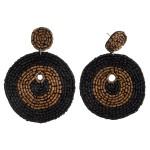 Wholesale seed beaded felt disc boho drop earrings diameter